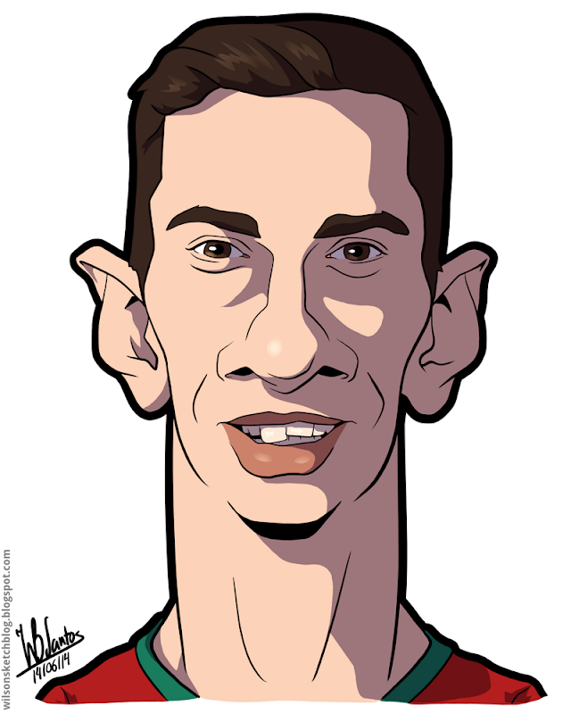 Cartoon caricature of Rui Patrício.
