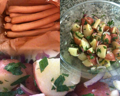 left to right, hot dogs from a local butcher <pork and beef>, Italian potato salad, and close up of potatoes, parsley, and red onion)