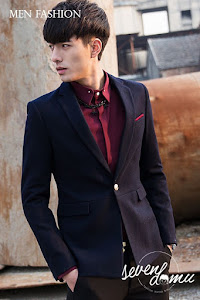 seven domu blazer single button with red list bk03