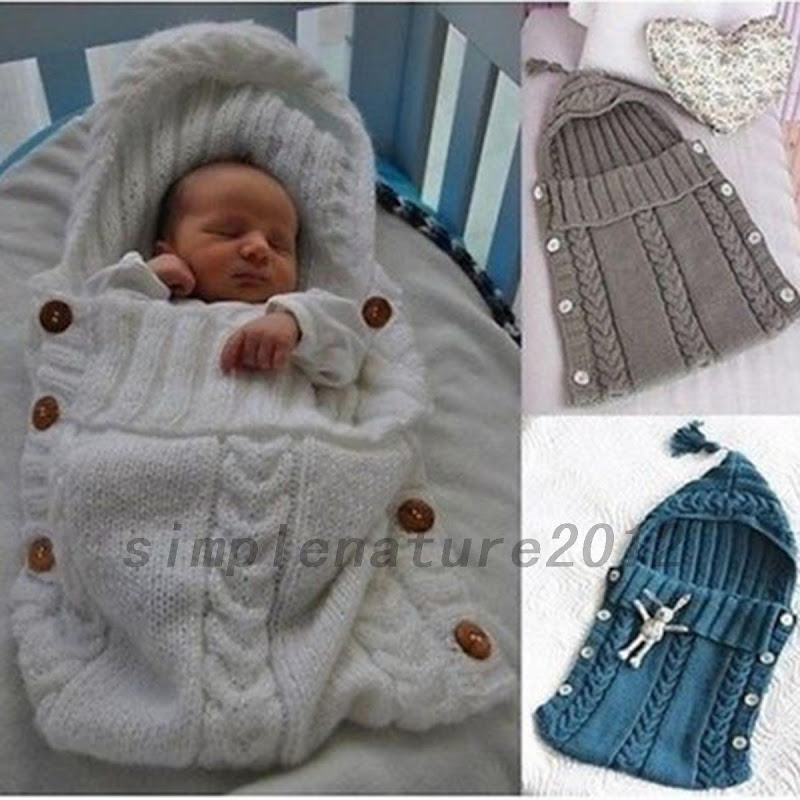 Crochet Pattern For Swaddle Blanket : 1PCS Baby Hooded Swaddle Wrap Warm Wool Knitted Swaddling ...