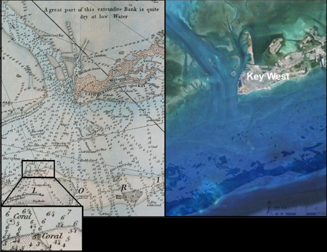 Then and now: Key West, Florida. Image Credit: Courtesy of the authors; McClenachan et al. (2017). doi:10.1126/sciadv.1603155. Graphic: McClenachan, et al., 2017 / Science Advances