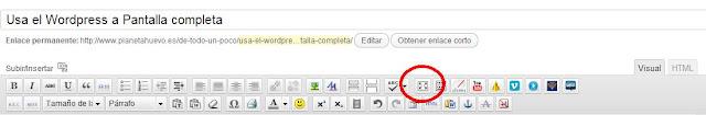 botón pantalla completa wordpress