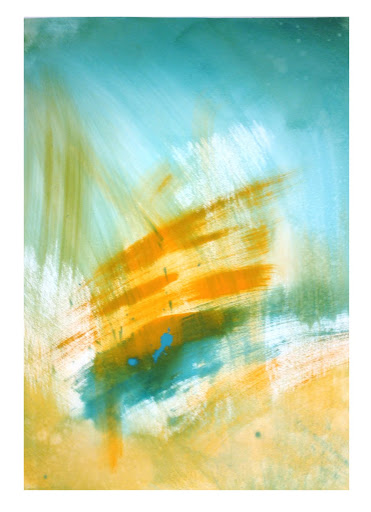blue orange 3 - 22x30 Acrylic on paper.  Artist Manny Martins-Karman