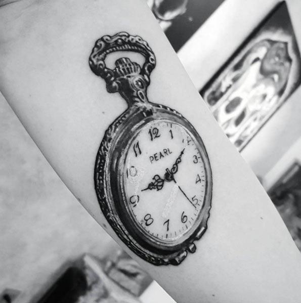 Este preto e cinza tinta aberto relógio de bolso