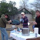Brian, Shaun and Chuck enjoy an oyster roast.