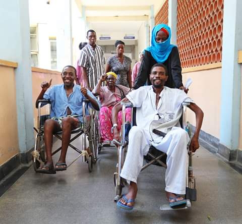 Mvita constituency mp Abdulswamad Nassir with patients at Coast general. PHOTO | BNC