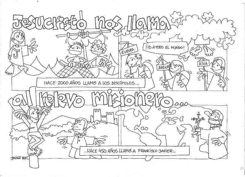 Missionaries in spanish coloring pages