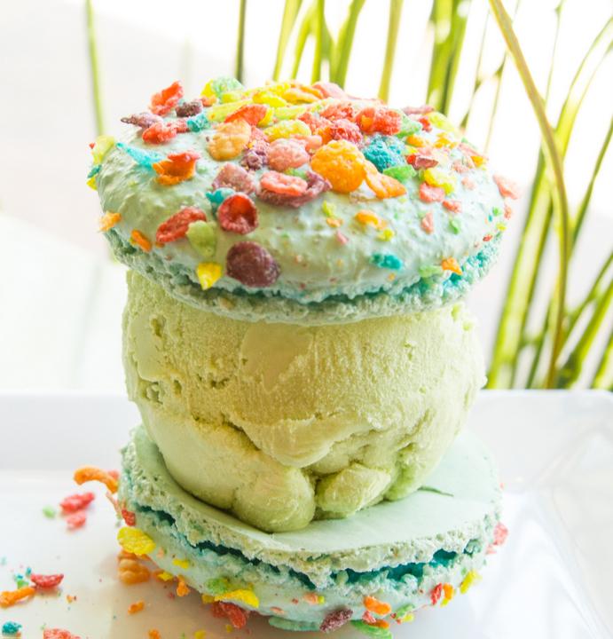 photo of Fruit Pebbles Macaron with Green Tea Ice Cream