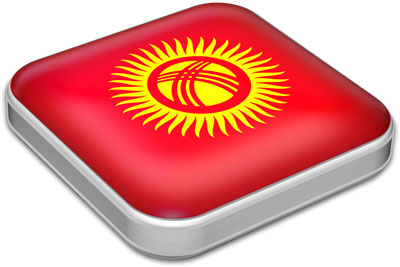 Flag of Kyrgyzstan with metallic square frame