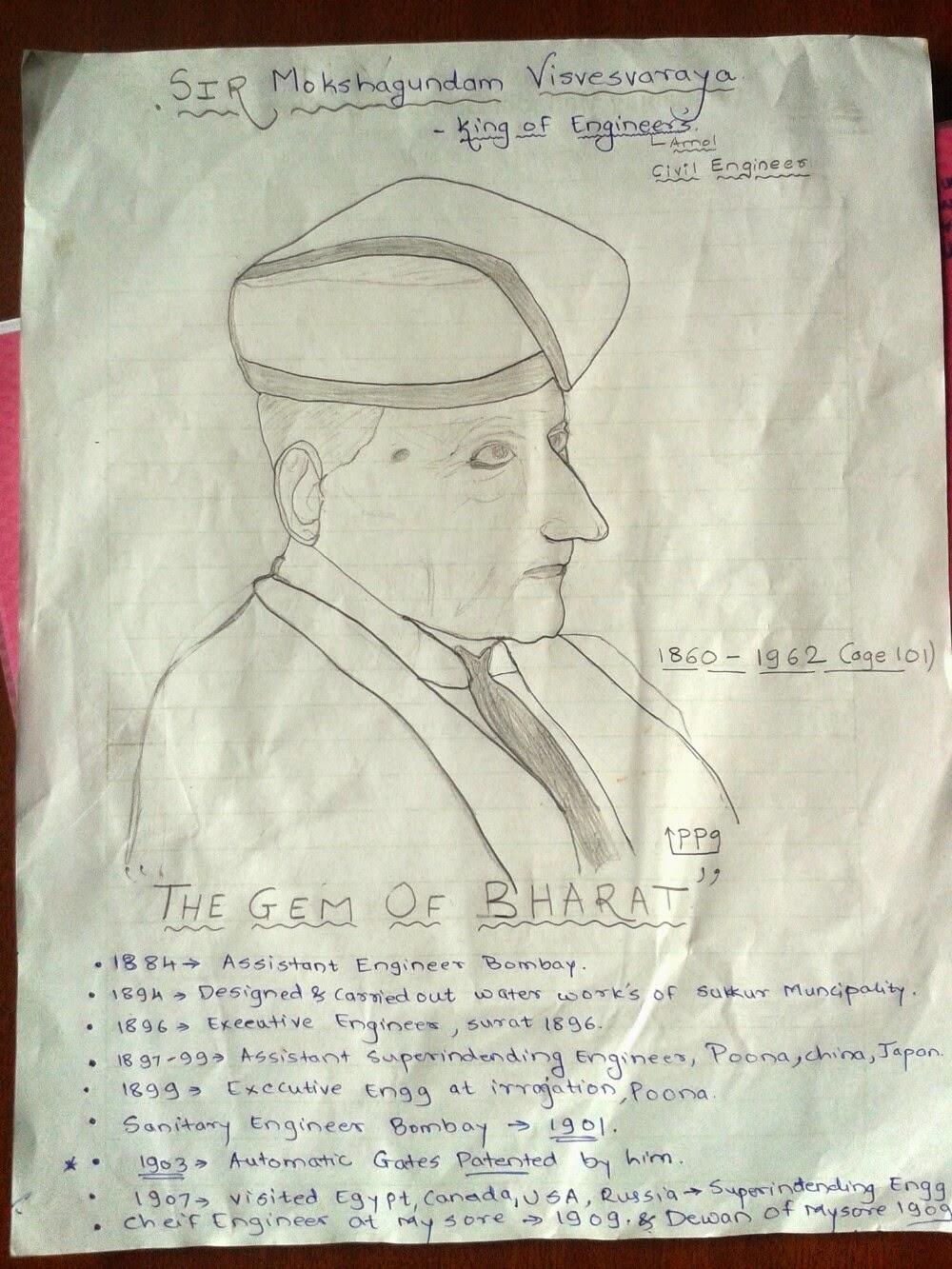 Sir Vishweshwarya Sketch Pawankumar Gurav Technology Tricks Biogasplantdiagram