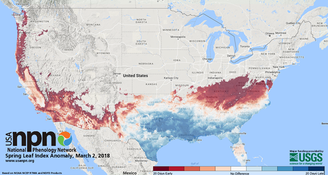 Spring Leaf Index Anomaly, 2 March 2018. Graphic: National Phenology Network