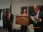 """Bob and Janet Beilhart receiving the """"Keel Award."""""""