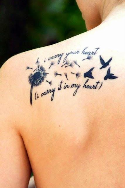 Dente-de-leao , aves e cotacoes de projetos do tattoo de ideias para as mulheres no Ombro