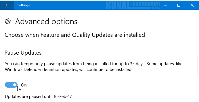 Resume a paused Windows 10 update (www.kunal-chowdhury.com)