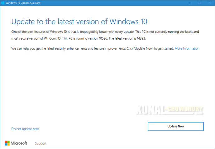 1. Update to the latest version of Windows 10 (www.kunal-chowdhury.com)