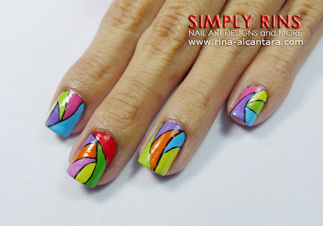 Colorful Abstract Nail Art Design 01