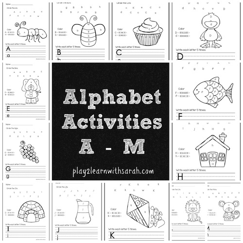 Alphabet Activities Free Printables A-M by Play 2 Learn with Sarah