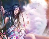 Girl On Swing Of Flowers