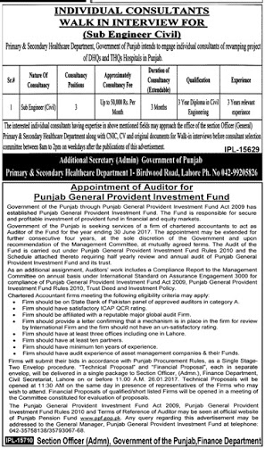 DAE Sub Engineer Civil Required In Punjab Government Job