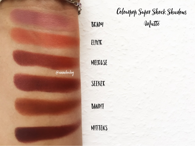 colourpop super shock swatches medium skin nc40, brady vs elixir vs melrose vs seeker vs bandit vs mittens