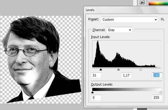 Ajuste de Levels na imagem de Bill Gates
