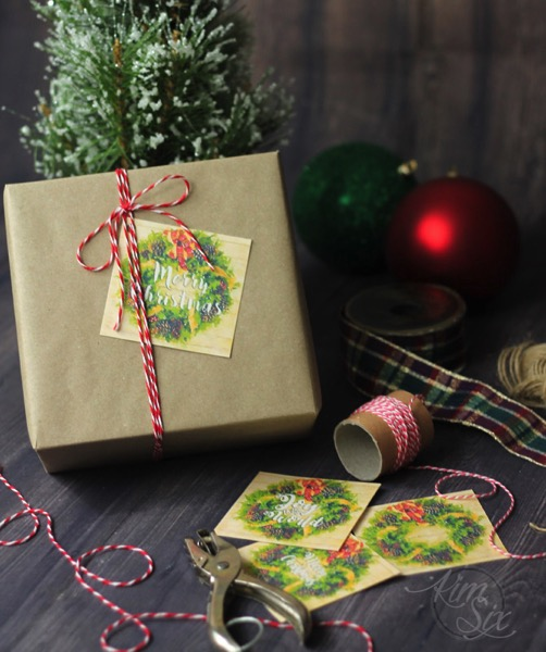 Tying on gift tag with bakers twine and brown paper