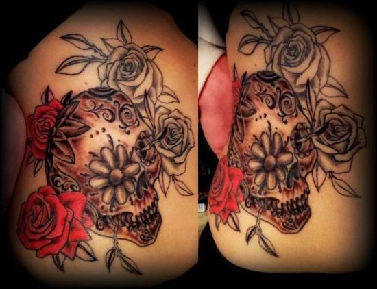 vermelho_e_cinza_rosa_açcar_crnio_tatuagens
