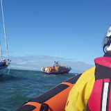 Poole ALB taking up a tow on a yacht with engine and steering failure in Poole Bay on 11 May 2013. Photo: RNLI/Poole Alex Evans