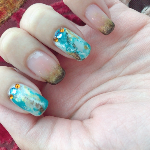 Turquoise Mineral Nail Art Chichicho