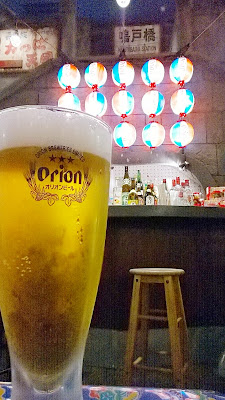 A beer at the bar of Shin Yokohama Ramen Museum