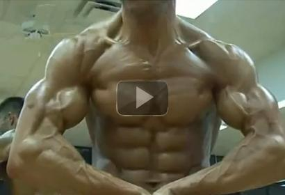 Natural bodybuilder Kent Julius Flexing Biceps and Chest