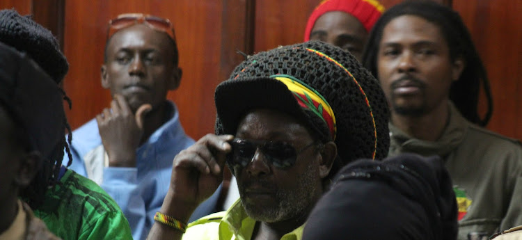 Members of the Rastafarian Movement follow proceedings at Milimani Law Courts./FILE