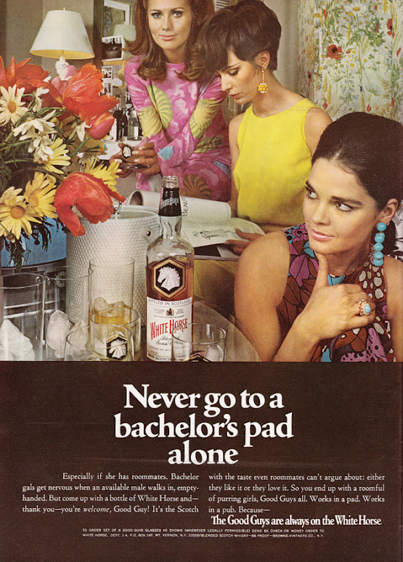Publicité vintage :Never go to a bachelor's pad alone - Pour vous Madame, pour vous Monsieur, des publicités, illustrations et rédactionnels choisis avec amour dans des publications des années 50, 60 et 70. Popcards Factory vous offre des divertissements de qualité. Vous pouvez également nous retrouver sur www.popcards.fr et www.filmfix.fr   - For you Madame, for you Sir, advertising, illustrations and editorials lovingly selected in publications from the fourties, the sixties and the seventies. Popcards Factory offers quality entertainment. You may also find us on www.popcards.fr and www.filmfix.fr