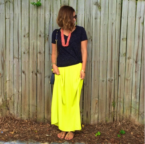 how to wear a maxi skirt, neon love, boho chic