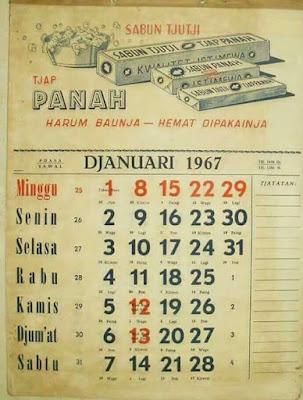 Kalendar Antik 1967.... Tarikh Dan Hari Sama 2017...!