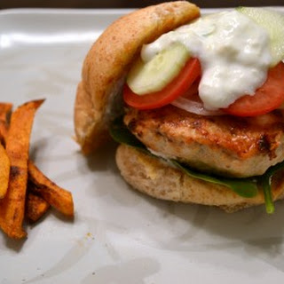Feta and Spinach Stuffed Turkey Burgers with Cucumber Yogurt Sauce.