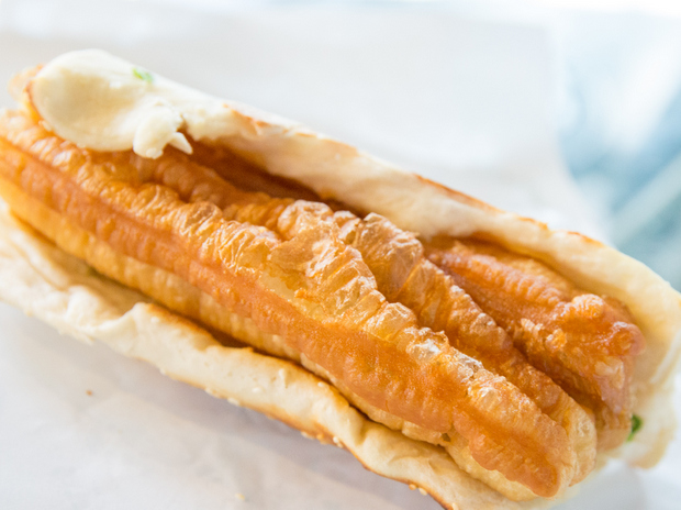 photo of a whole Shao Bing with Fried Cruller