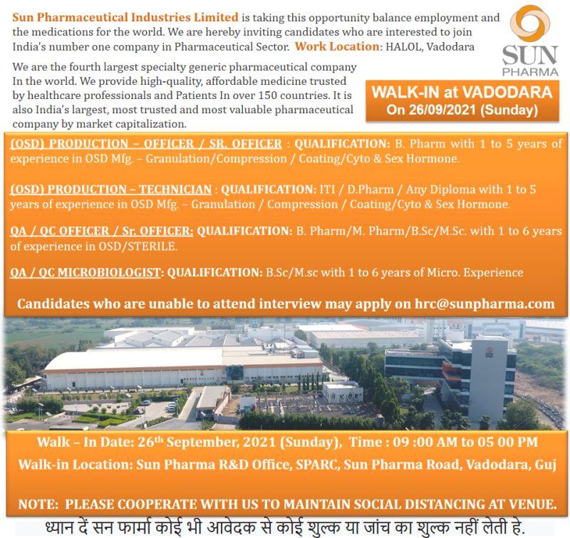Sun Pharma Walk-in 26th Sept 21 For Production, QA, QC Department