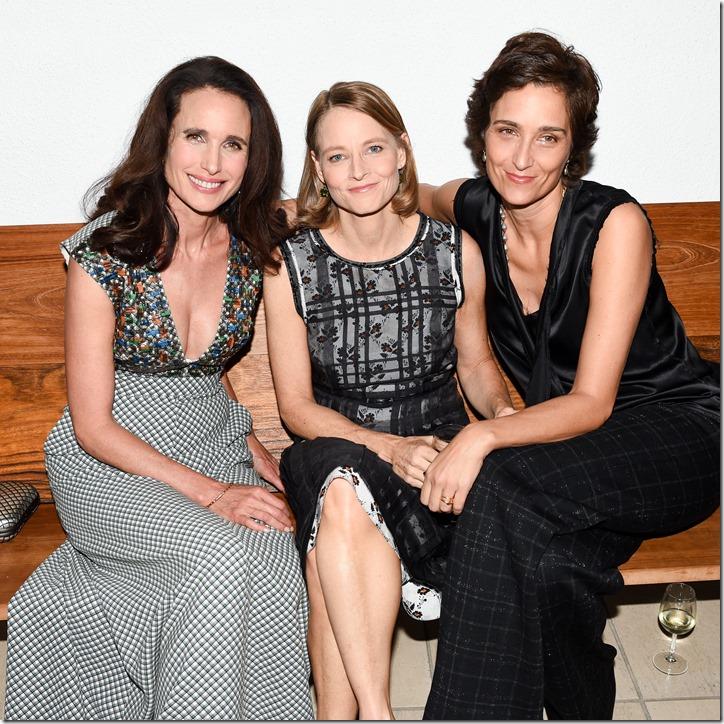 Andie MacDowell, Jodie Foster, Alexandra Hedison, (wearing Bottega Veneta)