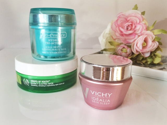Sleeping masks, The Body Shop bouncy sleeping mask, Vichy Skin Sleep, BioEssece Aqua Droplet sleeping mask, UK blogger, Scottish blogger, skincare blogger