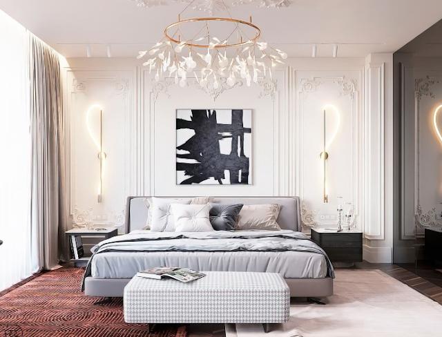 Không gian phòng ngủ nhỏ được thiết kế theo phong cách tân cổ điển sang trọng