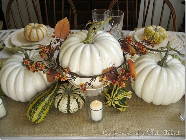 CONFESSIONS OF A PLATE ADDICT Thanksgiving Tablescape with White Pumpkins, Bittersweet and Mercury Glass