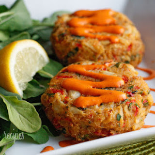 Baked Lump Crab Cakes with Red Pepper Chipotle Lime Sauce.