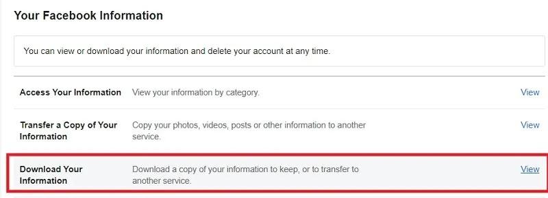 كيفية تنزيل محفوظات الدردشة على Facebook لحفظ عرض معلومات Facebook بأمان