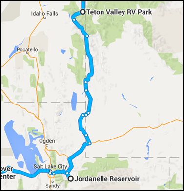 Map of route from Jordanelle Lake to Victor Idaho