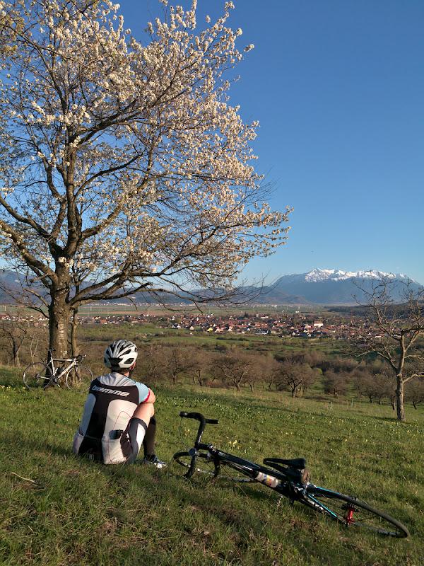 Tura de relaxare de dupa concurs, inapoi prin imprejurimile Brasovului cu munti inzapeziti in departare si cu mirosul copacilor infloriti in aer.