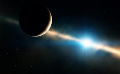 ilustração de uma anã marrom orbitando uma estrela anã branca