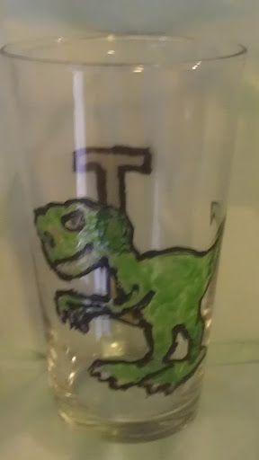 beer pint glass hand painted dinosaur t-rex tyrannaurus rex T initial