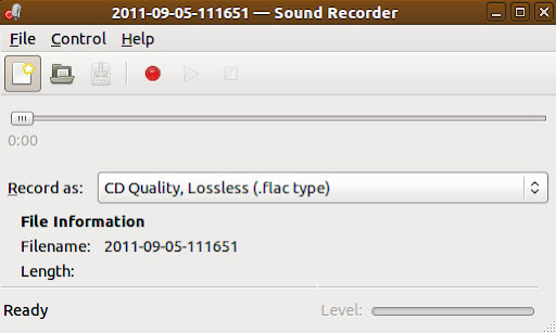 Gnome Sound Recorder (with nothing recording)