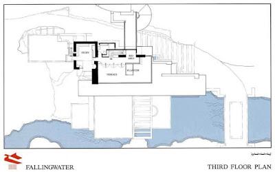 مخطط الدور الاول - بيت الشلالات - فرانك لويد رايت